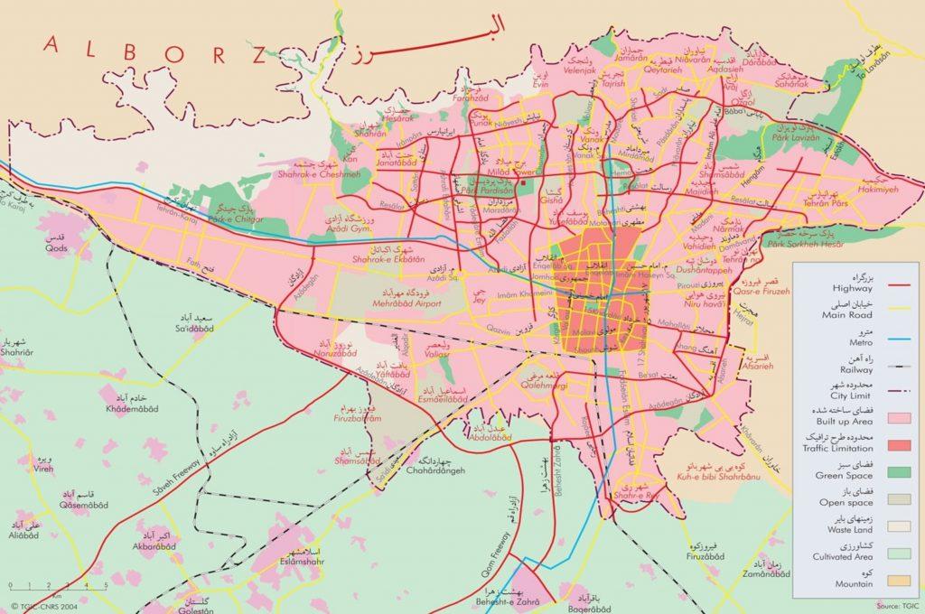 نقشهی تهران - معابر و مکانها - نقشهتهران