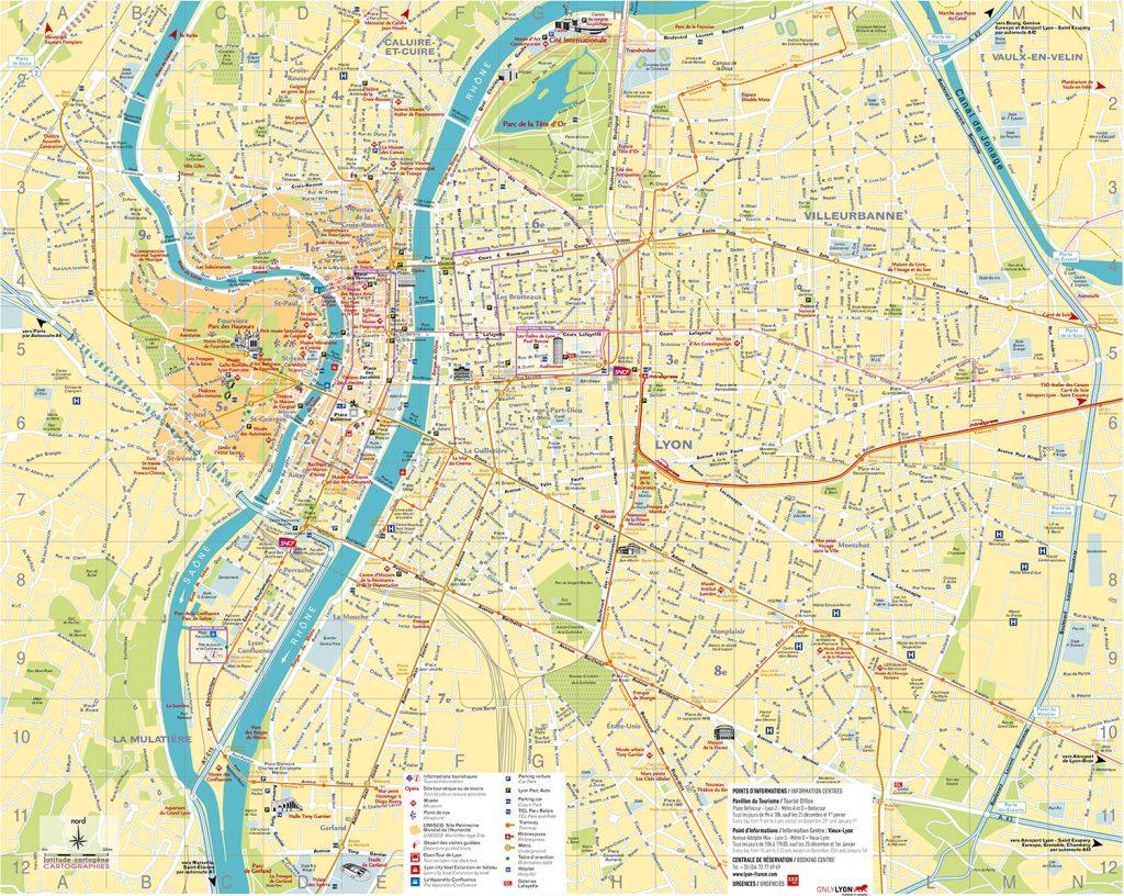 نقشه شهر لیون فرانسه