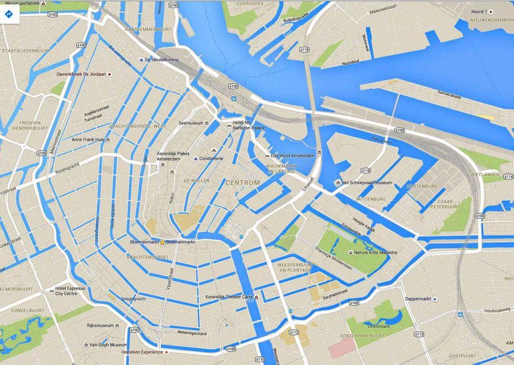 نقشه کانالهای آبی آمستردام