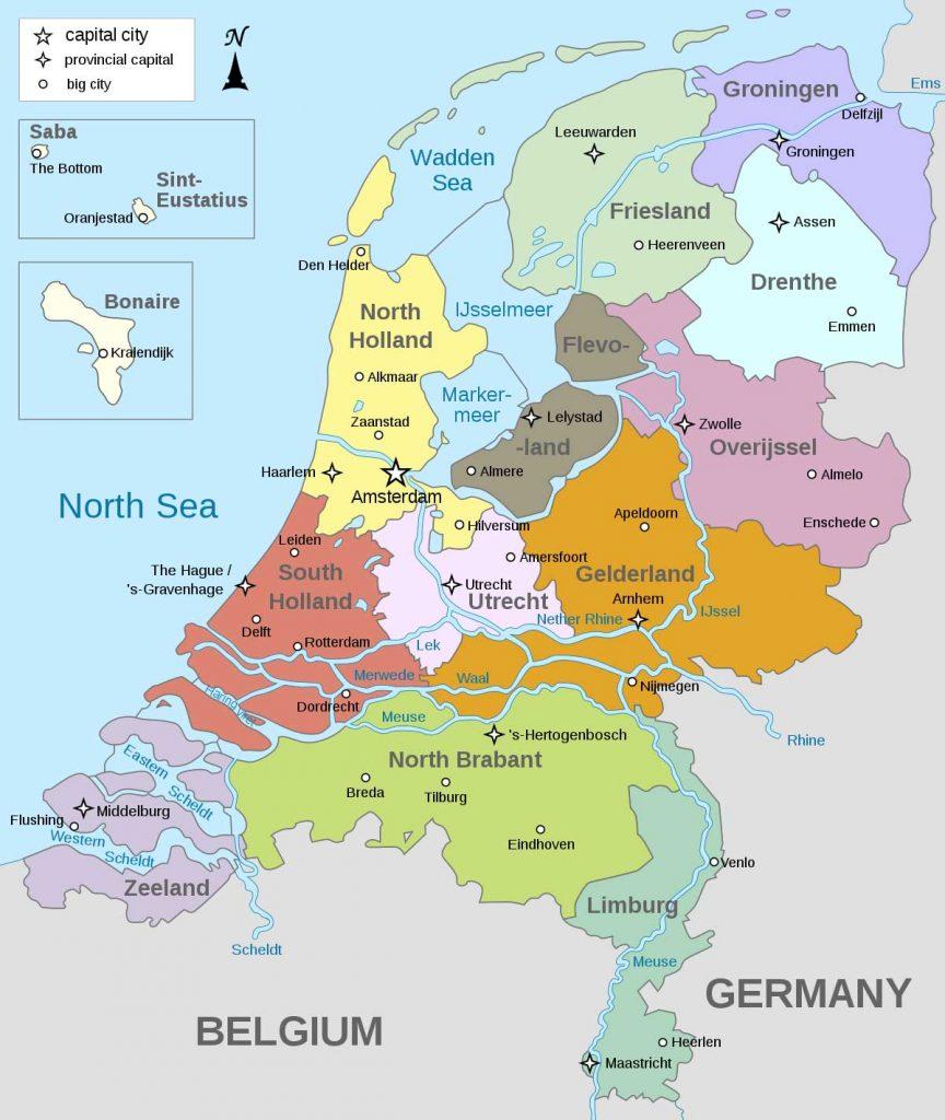 نقشه شهرهای هلند