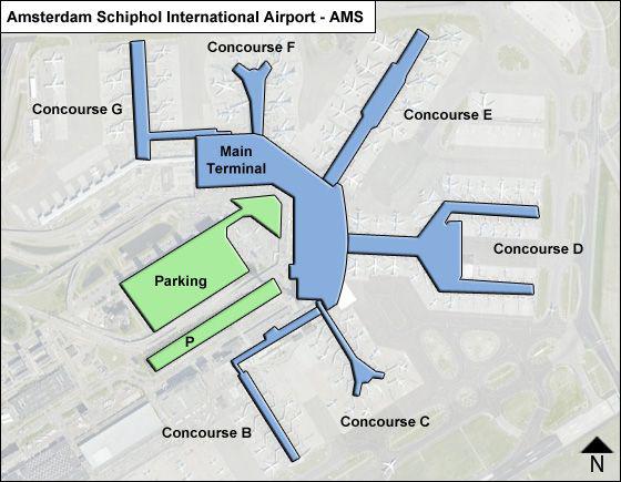 نقشه فرودگاه آمستردام