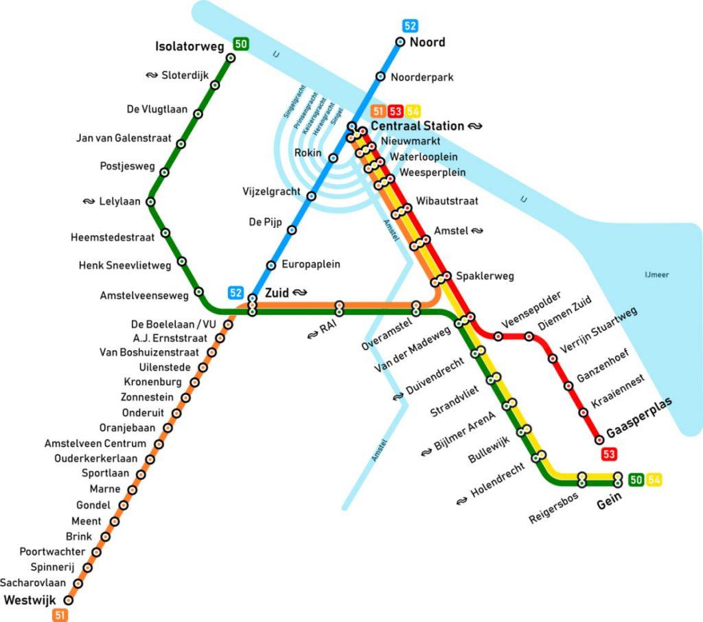 نقشه متروی آمستردام