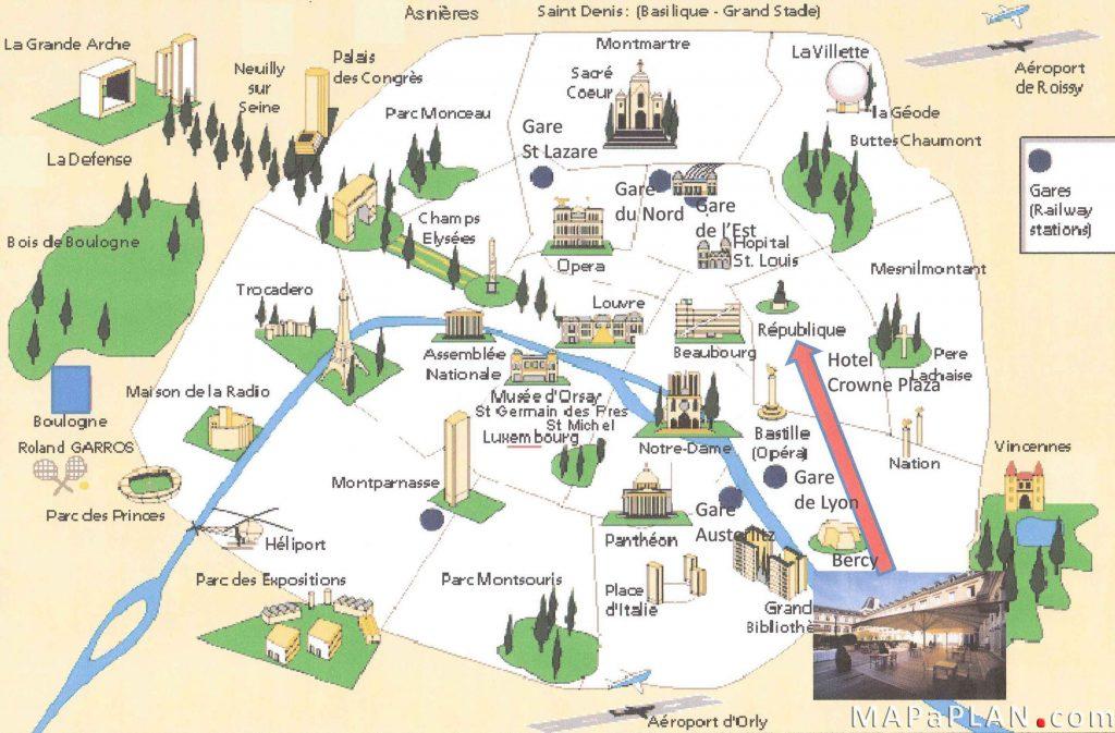 مکانهای دیدنی پاریس روی نقشه