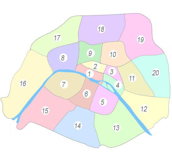 نقشه مناطق پاریس