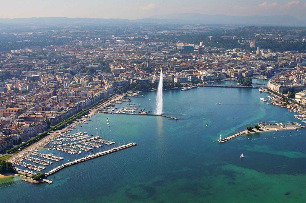 تصویر هوایی فواره آبی ژنو