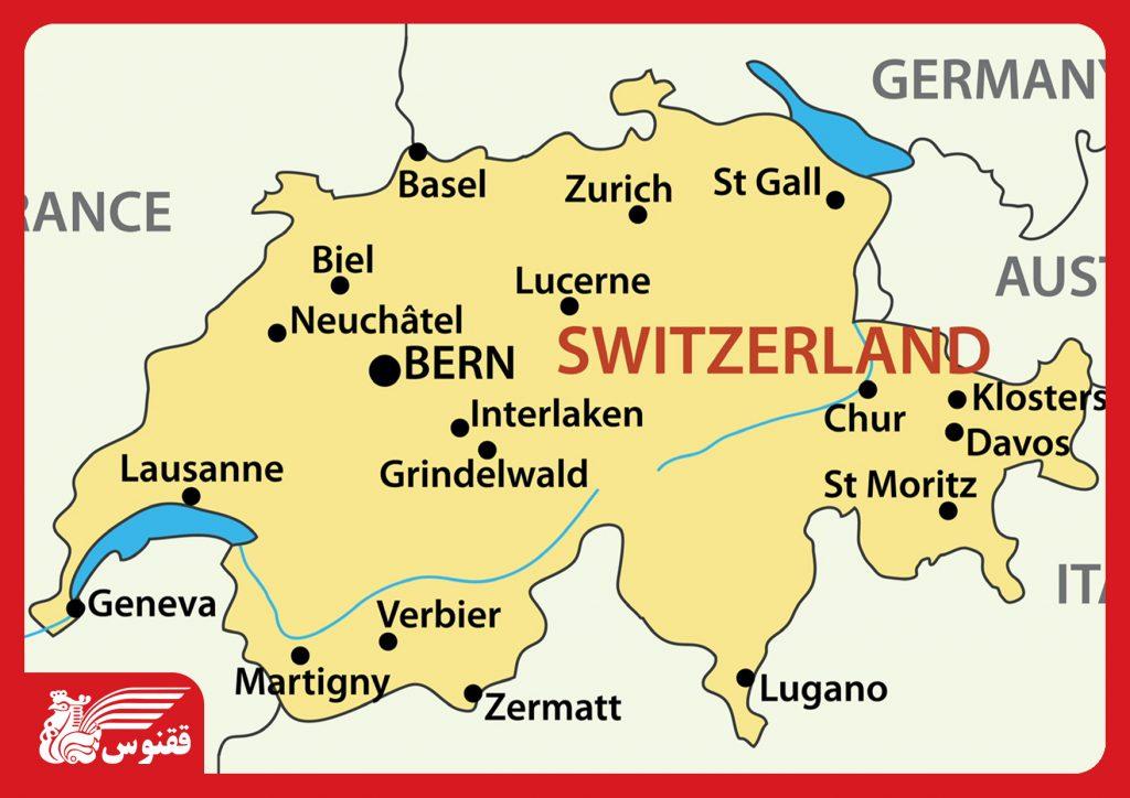 نقشه شهرهای سوئیس