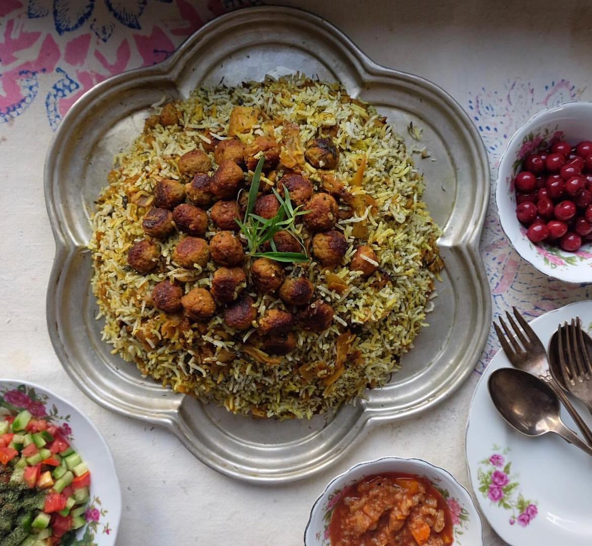 Kalam Polo (Kohlrabi, rice, meatballs, spices), with the Side of Salad Shirazi